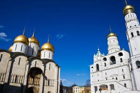Dormition Cathedral and Ivan the Great bell tower in Kremlin, Moscow photo