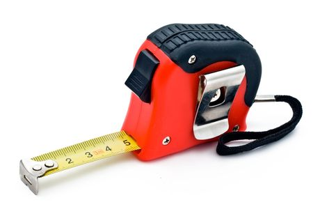 Red tape measure on white background
