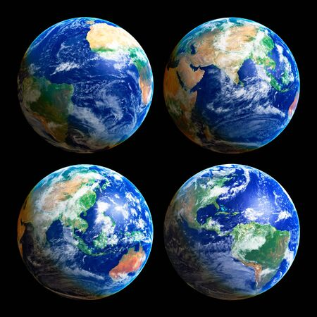 Four Earth Globes with clouds, high res pictures photo