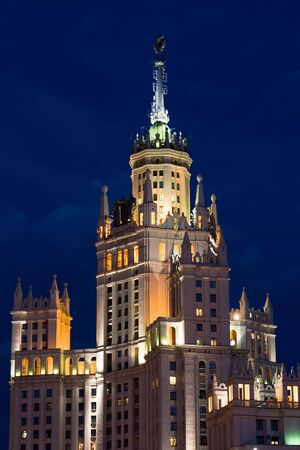 stalin empire style: Kotelnicheskaya Embankment Building at the evening, Moscow
