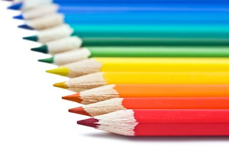 Coloured pencils with shadow on white background Stock Photo - 5707837