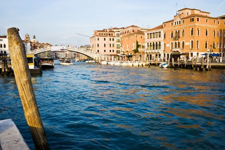 waterbus: Famous Grand Canal and typical venetian architecture near the Venice Train Station