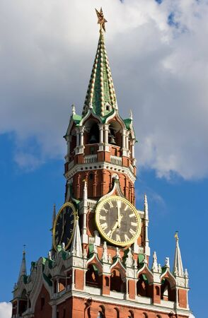 Famous Spasskaya tower with its ruby star, Moscow. Russia photo