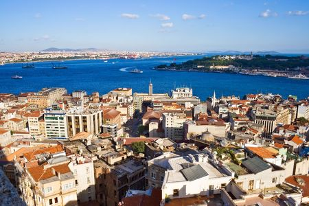 View from Galata tower to Bosphorus, Istanbul, Turkey