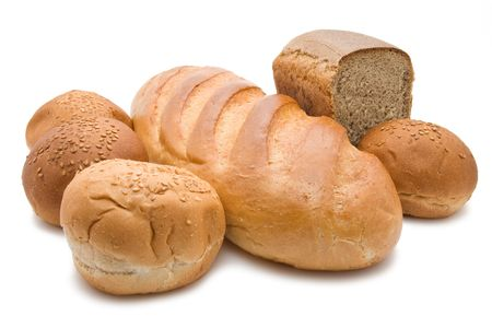 Different types of bread isolated on white photo