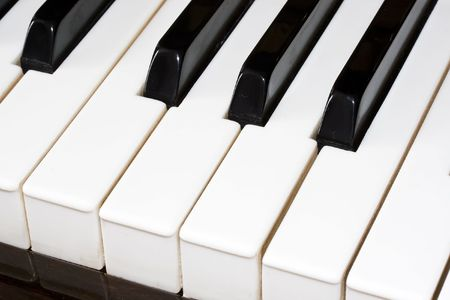 Closeup perspective view of a piano keyboard Stock Photo - 6236435