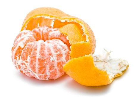 Fresh and juicy orange mandarine isolated on white background Stock Photo - 6236462