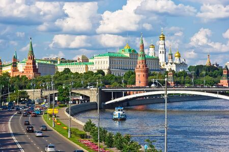 moskva river: Famous Moscow Kremlin and Moskva river, Russia