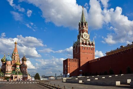 St Basils Cathedral and Spasskaya tower on Red Square, Moscow photo