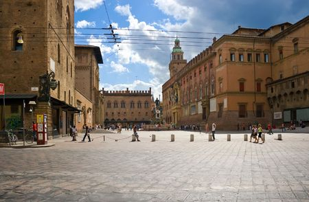 Beautiful square in the center of Bologna, Italy