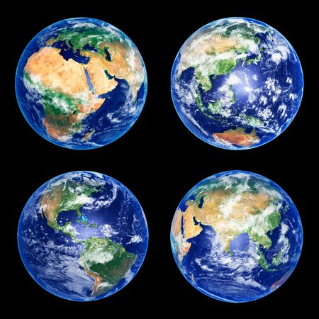 Four Earth Globes with clouds, high resolution pictures photo