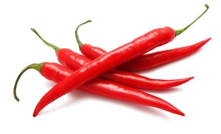 capsaicin: red hot chili pepper isolated on white