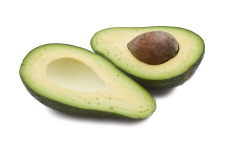 Open avocado isolated on white background photo