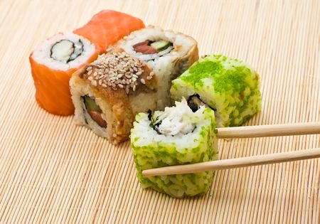 Traditional Japanese food Sushi, close-up Stock Photo - 6367589
