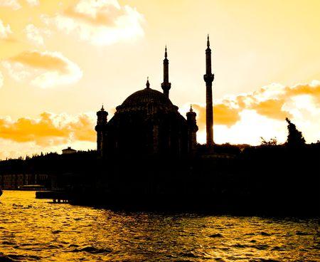 Ortakoy Mosque at sunset, Istanbul, Turkey Stock fotó