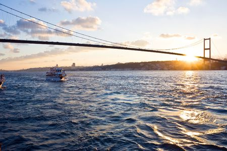 The Bosphorus Bridge connects Europe and Asia