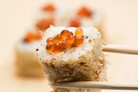 Traditional Japanese food Sushi, close-up photo