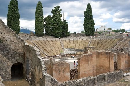 scenary: Ruins of a small amphitheater in Pompeii, Italy Stock Photo