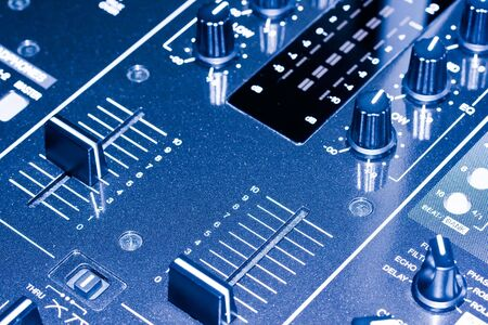 Electronic DJ Mixer close up photo