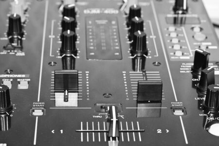 Electronic DJ Mixer close up photo