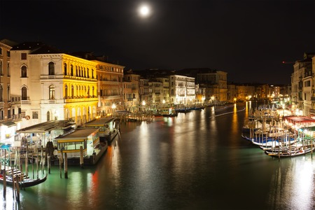 Famous Grand Canal at night, Venice, Italy photo