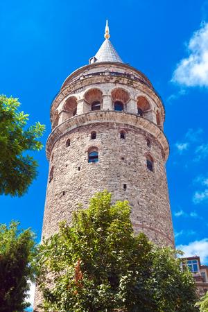 genoese: Medieval Genoese tower of Galata in Istanbul, Turkey