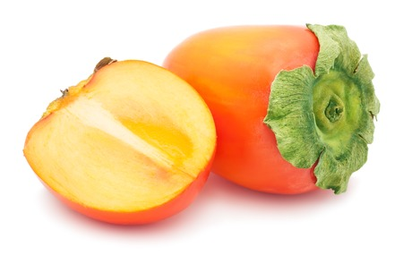 Fresh Persimmon or kaki diospyros ebony fruit on white background