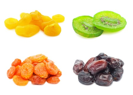 Collection of dried fruits isolated on white background Stock Photo - 24091403