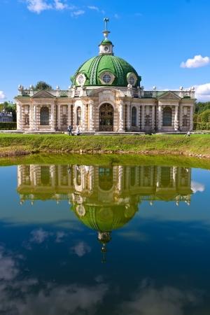 kuskovo: Grotto pavilion with beautiful reflection in park Kuskovo, Moscow, Russia Stock Photo