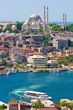 Panoramic view of Golden Horn from Galata tower, Istanbul, Turkey