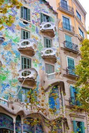 casa: Facade of famous house Casa Batllo  by Antoni Gaudi, Barcelona, Spain Stock Photo