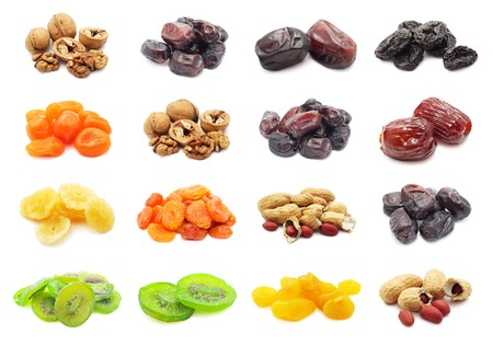 Collection of dried fruits isolated on white background Stock Photo - 24176348