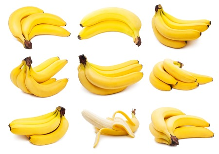 banana skin: Collection of yellow bananas isolated on white background
