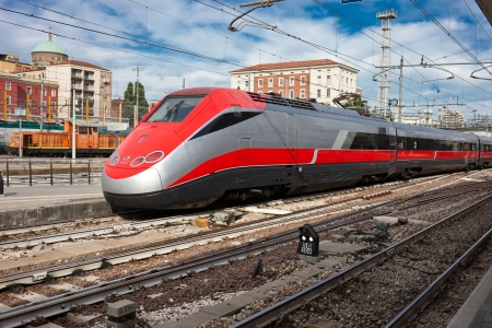 Beautiful photo of high speed modern commuter train Stock Photo