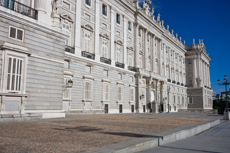 Beautiful view of famous Royal Palace in Madrid, Spain photo