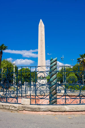 obelisk stone: Ancient Egyptian obelisk of Pharaoh Tutmoses in Hippodrome square of Istanbul, Turkey