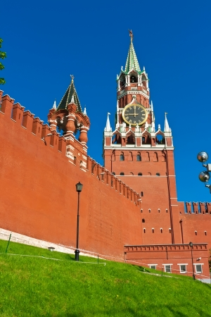 Beautiful view of  Spasskaya Tower in Moscow Kremlin, Russia