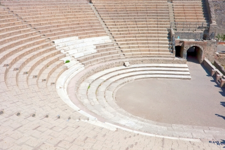Ancient ruins of famous Pompeii Theatre, Italy photo