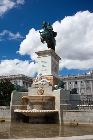 Statue of Felipe IV on Oriente square, Madrid, Spain