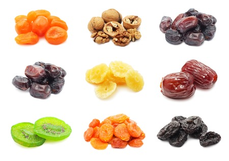 Collection of dried fruits isolated on white background Stock Photo - 24579350