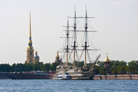 Old sailing ship on Neva River, Saint Petersburg, Russia photo
