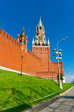 Beautiful view of  Spasskaya Tower in Moscow Kremlin, Russia photo