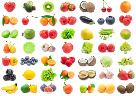 mango fruit: Collection of various fruits and vegetables isolated on white background