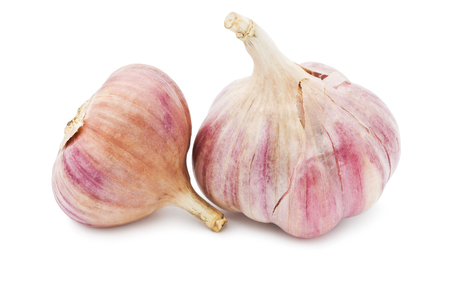 garlic cloves: Fresh young garlic isolated on white background