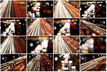 autobahn: Road at night with traffic trails and blurred lights