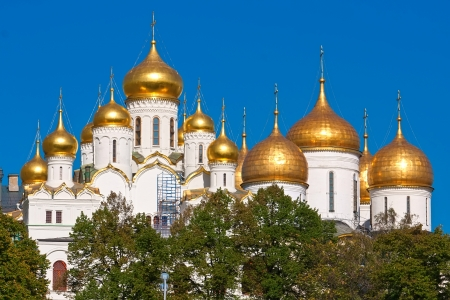Dormition and Annunciation Cathedrals in Kremlin, Moscow, Russia. photo