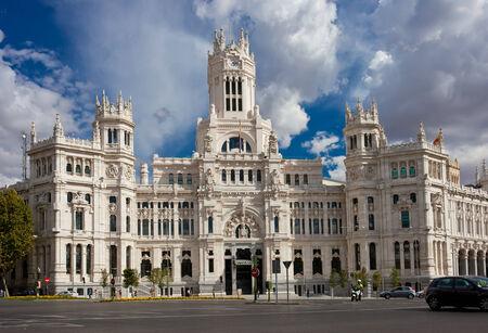 palacio de comunicaciones: Central Post Office - Palacio de Comunicaciones at Cybeles Square, Madrid, Spain. Stock Photo