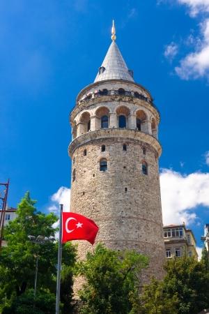 Medieval Genoese tower of Galata in Istanbul, Turkey