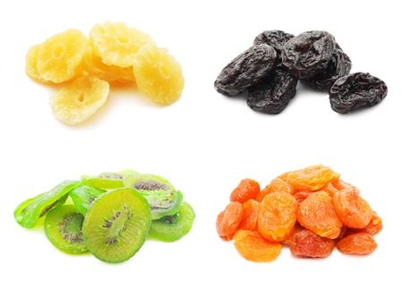 Collection of dried fruits isolated on white background Stock Photo - 24689509
