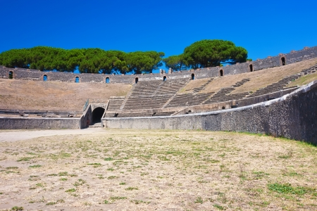 Ancient ruins of famous Pompeii Amphitheatre, Italy photo